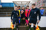 Referee Mr Storey appears with the ball to lead the teams out. Stocksbridge Park Steels v Pickering Town, Evo-Stik East Division, 17th November 2018. Stocksbridge Park Steels were born from the works team of the local British Steel plant that dominates the town north of Sheffield.<br /> Having missed out on promotion via the play offs in the previous season, Stocksbridge were hovering above the relegation zone in Northern Premier League Division One East, as they lost 0-2 to Pickering Town. Stocksbridge finished the season in 13th place.