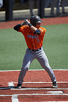 Shea Gutierrez (3) of the UTSA Roadrunners at bat against the Charlotte 49ers at Hayes Stadium on April 18, 2021 in Charlotte, North Carolina. (Brian Westerholt/Four Seam Images)