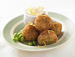 Risotto balls with edamame, served with lemon aioli