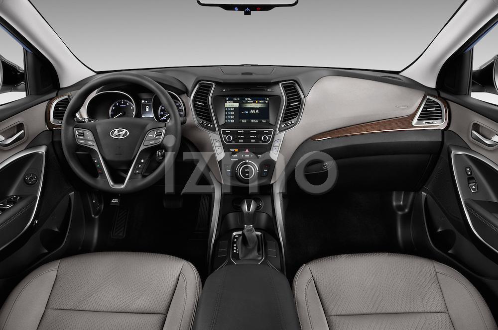 Stock photo of straight dashboard view of 2017 Hyundai Santa-Fe Sport 5 Door SUV Dashboard