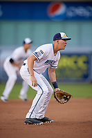 West Michigan Whitecaps third baseman Josh Lester (32) during a game against the Clinton LumberKings on May 3, 2017 at Fifth Third Ballpark in Comstock Park, Michigan.  West Michigan defeated Clinton 3-2.  (Mike Janes/Four Seam Images)