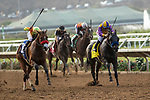 """DEL MAR, CA  JULY 28:  #3 Secret Spice, ridden by Flavien Prat,on the outside, #4 Ollie's Candy, ridden by Kent Desormeaux, battle in the stretch of the Clement L Hirsch Stakes (Grade 1) a Breeders' Cup """"Win and You're In"""" Distaff Division (Photo by Casey Phillips/Eclipse Sportswire/CSM)"""
