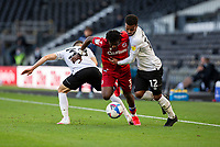 12th September 2020; Pride Park, Derby, East Midlands; English Championship Football, Derby County versus Reading; Omar Richards of Reading with the ball at his feet attempts to get past Nathan Byrne and Jason Knight of Derby County