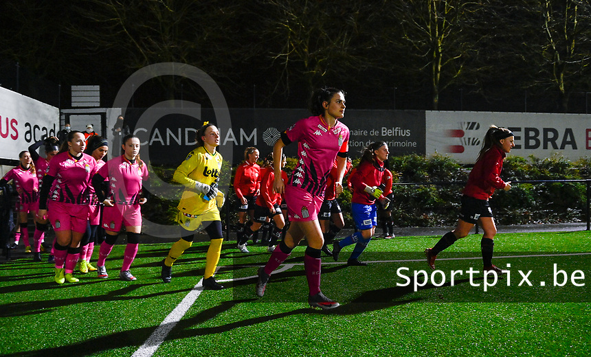 illustration picture showing both teams with Noemie Fourdin (11) of Sporting Charleroi entering the pitch during a female soccer game between Sporting Charleroi and SV Zulte-Waregem on the 12 th matchday of the 2020 - 2021 season of Belgian Scooore Womens Super League , friday 29 th of January 2021  in Marcinelle , Belgium . PHOTO SPORTPIX.BE | SPP | DAVID CATRY