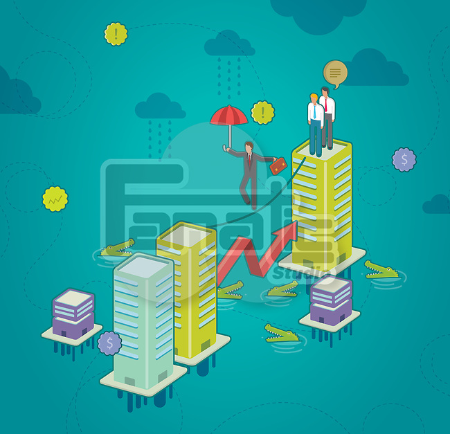 Illustration of businessman on a tightrope holding umbrella with crocodiles in water depicting risk in business