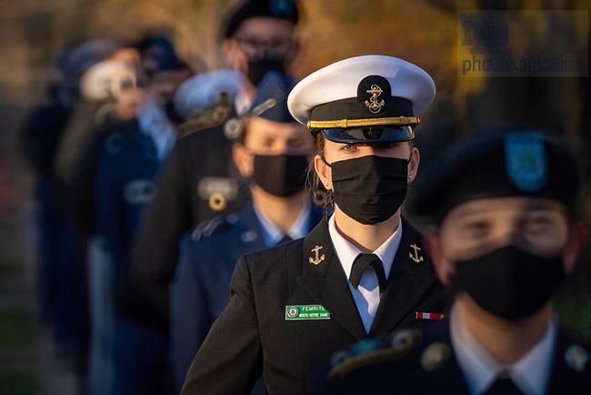 November 11, 2020; ROTC Veterans Day service at Clarke Memorial Fountain, 2020 (Photo by Matt Cashore/University of Notre Dame)