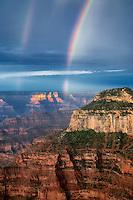 Rainbow over Grand Canyon. Bright Angel Point. North Rim Grand Canyon National Park, Arizona