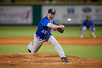 Biloxi Shuckers relief pitcher Tyler Spurlin (23) during a Southern League game against the Pensacola Blue Wahoos on May 3, 2019 at Admiral Fetterman Field in Pensacola, Florida.  Pensacola defeated Biloxi 10-8.  (Mike Janes/Four Seam Images)