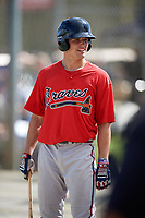 Davis Sharpe (22) while playing for Braves Scout Team/East Cobb based out of Marietta, Georgia during the WWBA World Championship at the Roger Dean Complex on October 19, 2017 in Jupiter, Florida.  Davis Sharpe is pitcher / third baseman from Dacula, Georgia who attends Mill Creek High School.  (Mike Janes/Four Seam Images)
