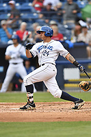 Asheville Tourists third baseman Colton Welker (24) swings at a pitch during a game against the Lexington Legends at McCormick Field on May 29, 2017 in Asheville, North Carolina. The Legends defeated the Tourists 6-2. (Tony Farlow/Four Seam Images)