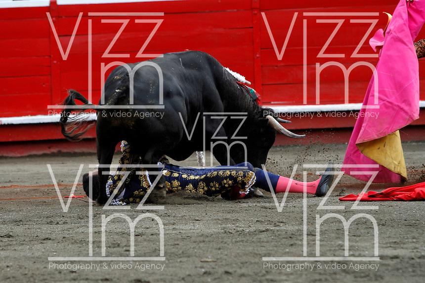 MANIZALES-COLOMBIA. 09-01-2016: El Cid, es arrollado por su segundo toro de la ganadería Achury Viejo durante la cuarta corrida como parte de la versión número 60 de La Feria de Manizales 2016 que se lleva a cabo entre el 2 y el 10 de enero de 2016 en la ciudad de Manizales, Colombia. / The bullfighter El Cid, is struck by his second bull during the fourth bullfight as part of the 60th version of Manizales Fair 2016 takes place between 2 and 10 January 2016 in the city of Manizales, Colombia. Photo: VizzorImage / Santiago Osorio / Cont
