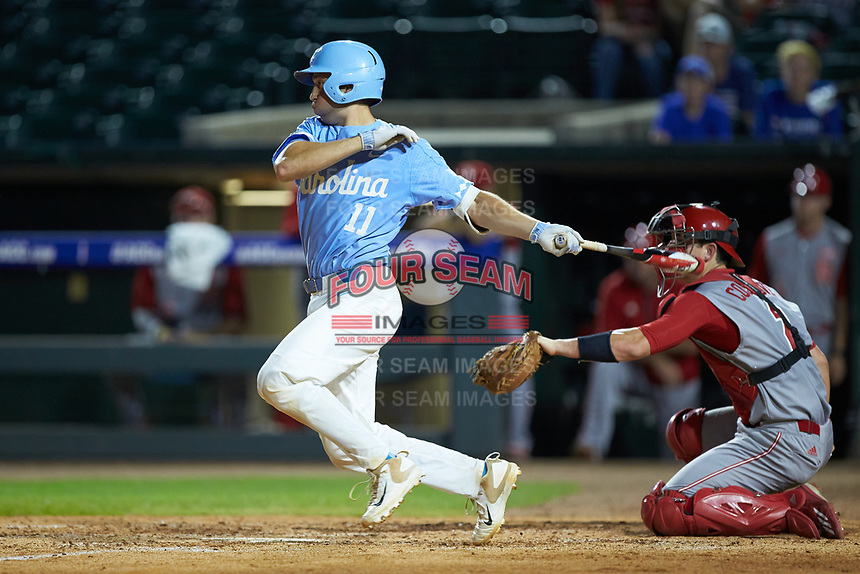 Cody Roberts (11) of the North Carolina Tar Heels follows through on his swing against the North Carolina State Wolfpack in Game Twelve of the 2017 ACC Baseball Championship at Louisville Slugger Field on May 26, 2017 in Louisville, Kentucky. The Tar Heels defeated the Wolfpack 12-4. (Brian Westerholt/Four Seam Images)