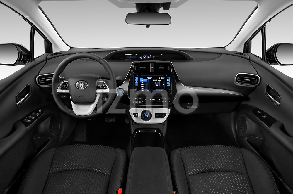 Stock photo of straight dashboard view of 2019 Toyota Prius-Plug-in-Hybride Comfort 5 Door Hatchback Dashboard