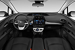 Stock photo of straight dashboard view of 2019 Toyota Prius-Plug-in-Hybride Comfort 5 Door Hatchback Dashboard