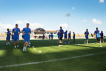 Tam Scobbie and Frazer Wright (nearest the camera) along with their team mates training in the Neman Stadium in Grodno in Belarus where saints will play FC Minsk tomorrow night.<br /> Picture by Graeme Hart.<br /> Copyright Perthshire Picture Agency<br /> Tel: 01738 623350  Mobile: 07990 594431