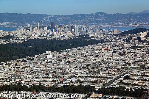 aerial photograph Sunset district residential neighborhood San Francisco California