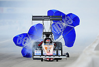 Feb. 11, 2012; Pomona, CA, USA; NHRA top fuel dragster driver Clay Millican during qualifying for the Winternationals at Auto Club Raceway at Pomona. Mandatory Credit: Mark J. Rebilas-