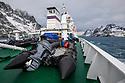 Research vessel Akademik Sergey Vavilov in Drygalski Fjord, South Georgia. November.