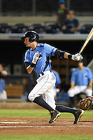 Charlotte Stone Crabs third baseman Tyler Goeddel (5) at bat during a game against the Palm Beach Cardinals on April 12, 2014 at Charlotte Sports Park in Port Charlotte, Florida.  Palm Beach defeated Charlotte 6-2.  (Mike Janes/Four Seam Images)