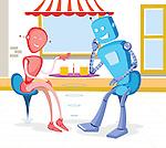 Robot couple at a sidewalk cafe