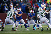 Buffalo Bills Marcus Murphy (45) rushes up field as Patrick DiMarco (42) blocks during an NFL football game against the New York Jets, Sunday, December 9, 2018, in Orchard Park, N.Y.  (Mike Janes Photography)