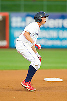 Kelly Dugan (32) of the Lakewood BlueClaws takes his lead off of second base against the Kannapolis Intimidators at FirstEnergy Park on August 8, 2012 in Lakewood, New Jersey.  The BlueClaws defeated the Intimidators 5-0.  (Brian Westerholt/Four Seam Images)