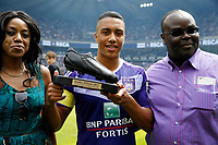 BRUSSELS, BELGIUM - MAY 21 :  Youri Tielemans midfielder of RSC Anderlecht with the Ebene shoe <br /> Anderlecht Campione del Belgio <br /> Jupiter League 20162017 <br /> Foto PhotoNews/Panoramic/Insidefoto<br /> ITALY ONLY
