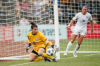 TACOMA, WA - JULY 31: Michelle Betos #1 of Racing Louisville FC makes a save during a game between Racing Louisville FC and OL Reign at Cheney Stadium on July 31, 2021 in Tacoma, Washington.