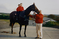 Pictured: Sean Michael on Swansea Bay and Peter Bowen circa 2003. Wednesday 10 January 2018<br /> Re: Peter Bower Racing in Little Newcastle, west Wales, UK.