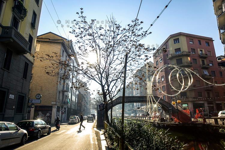 Milano, Naviglio Pavese in via Ascanio Sforza --- Milan, Naviglio Pavese canal in Ascanio Sforza street