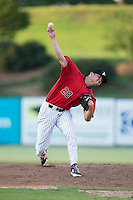 Kannapolis Intimidators relief pitcher Mike Morrison (28) in action against the Greensboro Grasshoppers at Intimidators Stadium on July 17, 2016 in Greensboro, North Carolina.  The Grasshoppers defeated the Intimidators 5-4 in game two of a double-header.  (Brian Westerholt/Four Seam Images)
