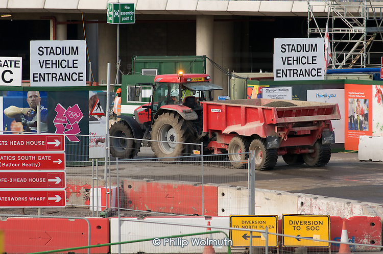Entrance to the London 2012 Olympic Stadium construction site, Stratford.