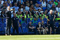 Reading manager Paul Clement and Cardiff City manager Neil Warnock during the Sky Bet Championship match between Cardiff City and Reading at The Cardiff City Stadium, Wales, UK. Sunday 06 May 2018