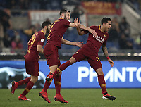 Football, Serie A: AS Roma - Genoa, Olympic stadium, Rome, December 16, 2018. <br /> Roma's Justin Kluivert (r) celebrates after scoring with his teammates during the Italian Serie A football match between Roma and Genoa at Rome's Olympic stadium, on December 16, 2018.<br /> UPDATE IMAGES PRESS/Isabella Bonotto