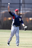 Washington Nationals minor league outfielder Bryce Harper #34 warms up during a spring training game against the Baltimore Orioles at the Spacecoast Stadium Training Complex on March 27, 2011 in Melbourne, Florida.  Photo By Mike Janes/Four Seam Images