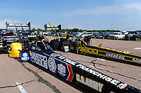 Apr. 27, 2012; Baytown, TX, USA: NHRA top fuel dragster driver Antron Brown (left) and Morgan Lucas during qualifying for the Spring Nationals at Royal Purple Raceway. Mandatory Credit: Mark J. Rebilas-