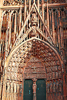 Cathedral of Our Lady of Strasbourg France. Gothic doorway and statues