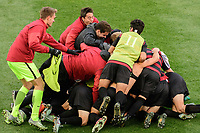 Chester, PA - Sunday December 10, 2017: Sam Werner  celebrates scoring, team. Stanford University defeated Indiana University 1-0 in double overtime during the NCAA 2017 Men's College Cup championship match at Talen Energy Stadium.