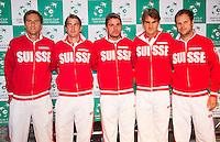 zz13-09-12, Netherlands, Amsterdam, Tennis, Daviscup Netherlands-Swiss, Draw , Swiss Team,  l.t.r.: Mario Chiudinelli, Michael Lemmer,Stanislas Wawrinka, Roger Federer and captain Severin Luthi.