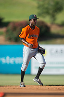 Augusta GreenJackets shortstop Lucius Fox (1) on defense against the Kannapolis Intimidators at Intimidators Stadium on May 30, 2016 in Kannapolis, North Carolina.  The GreenJackets defeated the Intimidators 5-3.  (Brian Westerholt/Four Seam Images)