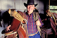 Portrait of Billy Paris, an esteemed paniolo (cowboy) and former manager of Puuwaawaa Ranch, Kona, Big Island