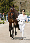 April 21, 2021: 63 Stella Artois and rider Jennifer Brannigan from the USA in the first horse veterinary inspection at the Land Rover Three Day Event at the Kentucky Horse Park in Lexington, KY on April 21, 2021.  Candice Chavez/ESW/CSM
