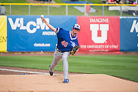 Deck McGuire (46) of the Oklahoma City Dodgers warms up in the outfield before the game against the Salt Lake Bees in Pacific Coast League action at Smith's Ballpark on May 25, 2015 in Salt Lake City, Utah.  (Stephen Smith/Four Seam Images)