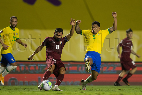 13th November 2020; Morumbi Stadium, Sao Paulo, Sao Paulo, Brazil; World Cup 2022 qualifiers; Brazil versus Venezuela;  Allab of Brazil attempts to block the cross from Tomás Rincón of Venezuela