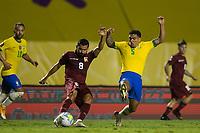 13th November 2020; Morumbi Stadium, Sao Paulo, Sao Paulo, Brazil; World Cup 2022 qualifiers; Brazil versus Venezuela;  Allab of Brazil attempts to block the cross from Tomás Rincón of Venezuela