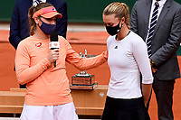 11th October 2020, Roland Garros, Paris, France; French Open tennis, Womens Doubles final 2020; Timea BabHun and Kristina Mladenovic Fra celebrate their win