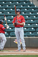 Bobby Dalbec (29) of the Salem Red Sox checks his bat before stepping up to the plate during the game against the Winston-Salem Dash at BB&T Ballpark on April 22, 2018 in Winston-Salem, North Carolina.  The Red Sox defeated the Dash 6-4 in 10 innings.  (Brian Westerholt/Four Seam Images)
