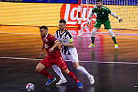 9th October 2020; Palau Blaugrana, Barcelona, Catalonia, Spain; UEFA Futsal Champions League Finals; Mrucia FS versus MFK Tyumen;   Dario Gil holds off a challenge