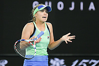 January 1, 2020: 14th seed SOFIA KENIN (USA) in action against GARBIÑE MUGURUZA (ESP) on Rod Laver Arena in a Women's Singles Final match on day 13 of the Australian Open 2020 in Melbourne, Australia. Photo Sydney Low. Kenin won 46 62 62