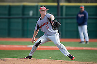 Hartford Hawks relief pitcher Jake Regula (11) in action against the Virginia Cavaliers at The Ripken Experience on February 27, 2015 in Myrtle Beach, South Carolina.  The Cavaliers defeated the Hawks 5-1.  (Brian Westerholt/Four Seam Images)